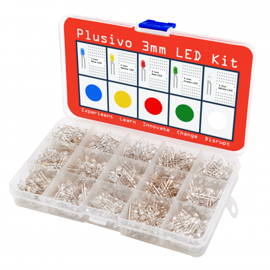 Plusivo 3mm Clear Lens LED Light Emitting Diode Assortment Kit