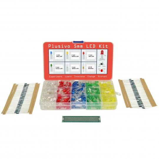 Plusivo 5mm LED Assortment Kit (500pcs) with Bonus PCB and 220 Ω Resistors(100pcs)