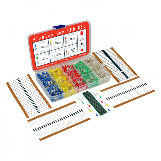 Plusivo 3mm Diffused LED Diode Assortment Kit - Pack of Assorted Color LEDs and Resistors (1000 pcs)